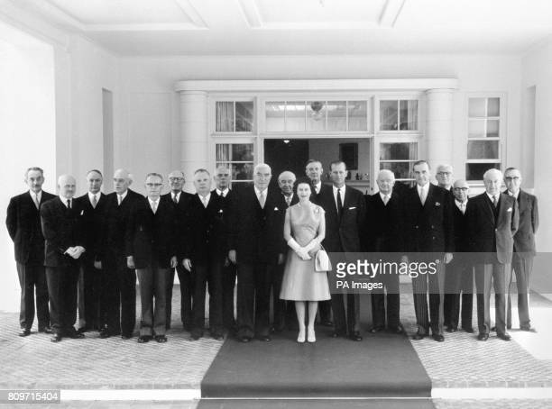 Queen Elizabeth II and Duke of Edinburgh in Canberra after presiding at a meeting of the Privy Council at Government House Left to right Mr G Agnew...
