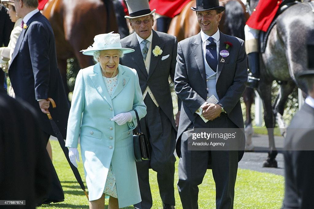 Queen Elizabeth II and Duke of Edinburgh Prince Philip arrive for Ladies Day of Royal Ascot at Ascot racecourse in Berkshire, England on June 18, 2015. The 5 day showcase event, which is one of the highlights of the racing calendar, has been held at the famous Berkshire course since 1711 and tradition is a hallmark of the meeting. Top hats and tails remain compulsory in parts of the course.