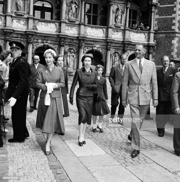 Queen Elizabeth II and Duke of Edinburgh, Prince Philip, visit the Chapel at Frederiksborg Castle. They were hosted by King Frederik IX and Queen...