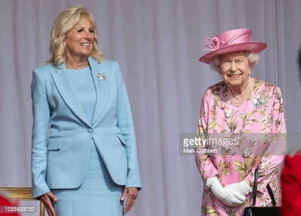 Queen Elizabeth II and First Lady Jill Biden at Windsor Castle on June 13, 2021 in Windsor, England. Queen Elizabeth II hosts US President, Joe Biden...