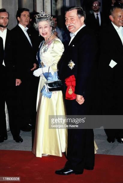 Queen Elizabeth II and Former Polish President Lech Walesa attend his State Banquet given in honor of the Queen on April 25 1991 in London England