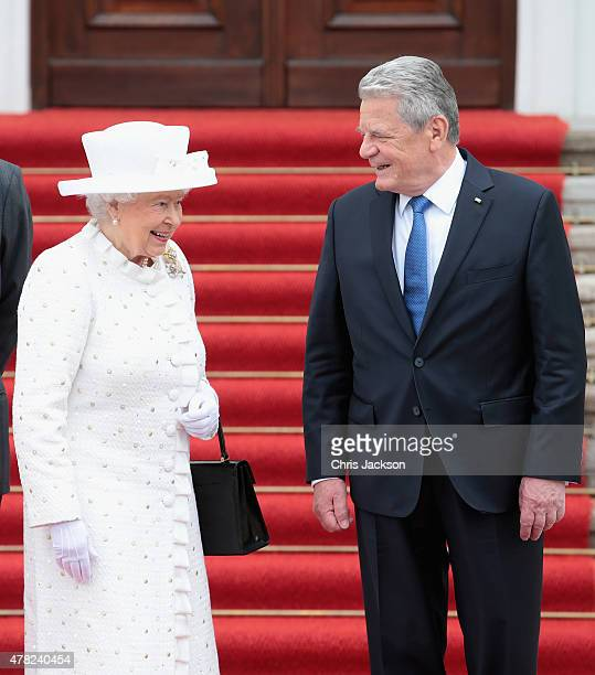 Queen Elizabeth II and German President Joachim Gauck arrive at the Schloss Bellevue Palace on the second day of a four day State Visit on June 24...