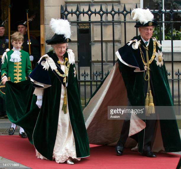 HM Queen Elizabeth II and he Duke of Edinburgh attend the traditional Mass for the Order of the Thistle Edinburgh Scotland July 2nd 2008