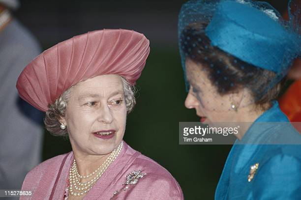 Queen Elizabeth II and her daughter Princess Anne attending the wedding of Viscount Linley and Serena Stanhope at the Church of St Margaret in the...