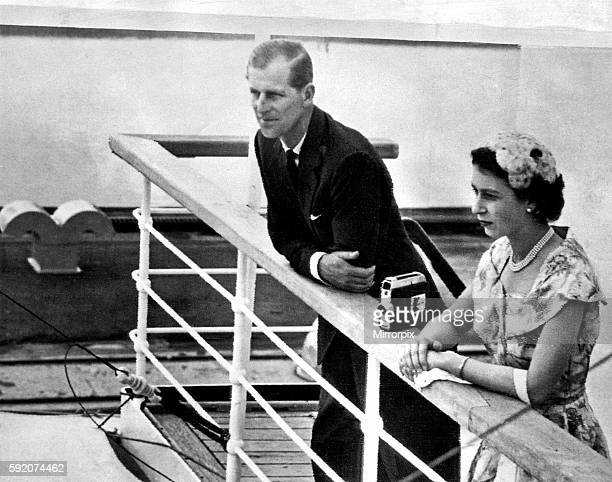 Queen Elizabeth II and her husband Prince Philip, Duke of Edinburgh, on the bridge of the liner Gothic as it arrves at the Miraflores Locks in the...