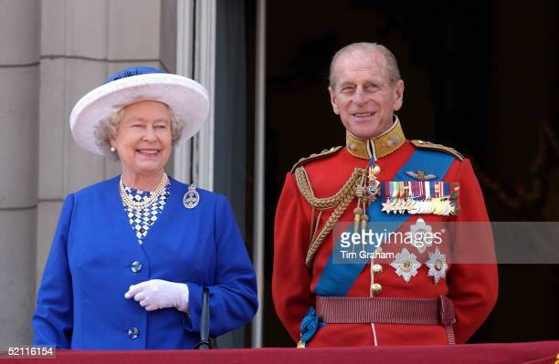 Queen Elizabeth II And Her Husband Prince Philip On The Balcony Of Buckingham Palace After Trooping The Colour The Queen's Official Birthday Parade...