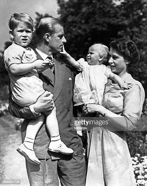 Queen Elizabeth II and her husband Prince Philip with their two children Prince Charles and Princess Anne Circa 1951