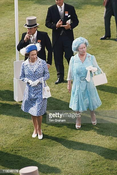 Queen Elizabeth II and her mother The Queen Mother in the paddock at Ascot racecourse in Ascot Berkshire Great Britain June 1977