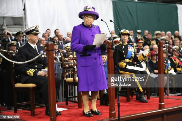 Queen Elizabeth II and Her Royal Highness The Princess Royal attend the Commissioning Ceremony of HMS Queen Elizabeth at HM Naval Base on December 7...