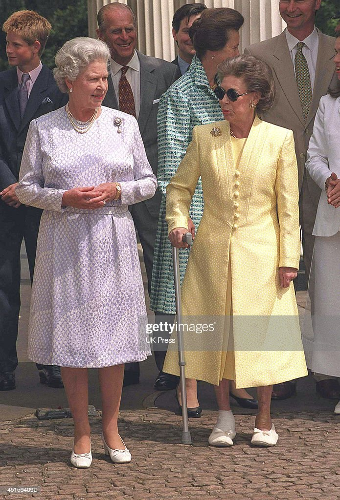 Queen Elizabeth Ii And Her Sister Princess Margaret Attend The Mothers 99th Birthday Celebrations