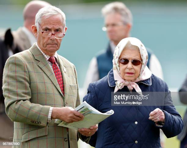 Queen Elizabeth II and her Stud Groom Terry Pendry attend day 3 of the Royal Windsor Horse Show in Home Park on May 11 2018 in Windsor England This...
