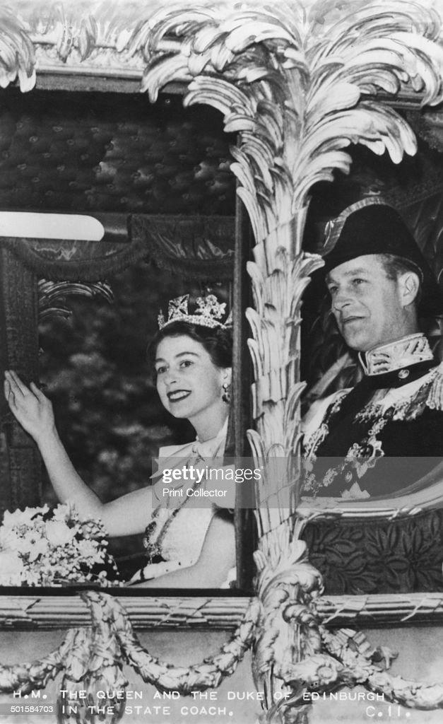 Queen Elizabeth II and Duke of Edinburgh in the State Coach, The Coronation, 2nd June 1953. : News Photo