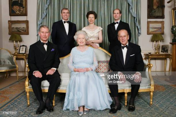 Queen Elizabeth II and HRH Prince Philip Duke of Edinburgh are joined at Clarence House by their immediate family HRH The Prince of Wales HRH...