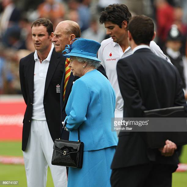 Queen Elizabeth II and HRH Prince Philip Duke of Edinburgh look on with England captain Andrew Strauss and Alastair Cook during day two of the npower...