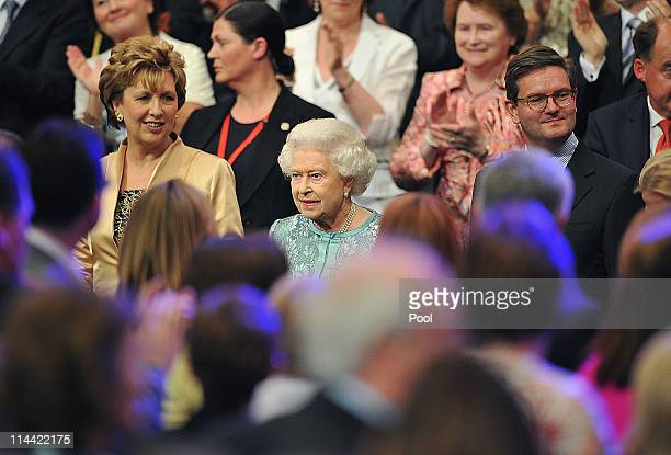 Queen Elizabeth II and Irish president Mary McAleese attend the National Convention Centre on May 19 2011 in Dublin Ireland The Duke and Queen's...