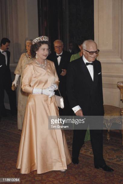 Queen Elizabeth II and Italian President Sandro Pertini at the Quirinale Palace in Rome Italy October 1980