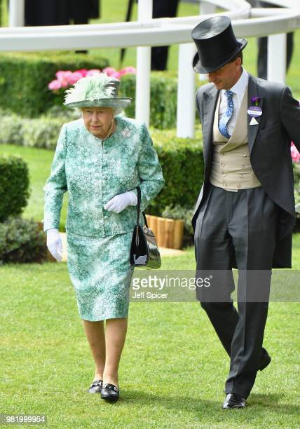 Queen Elizabeth II and John Warren attend day 5 of Royal Ascot at Ascot Racecourse on June 23 2018 in Ascot England
