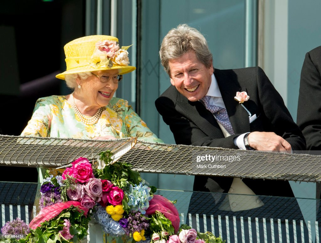 Queen Elizabeth II and John Warren attend Derby day at Epsom Derby festival at Epsom Downs on June 3, 2017 in Epsom, England.