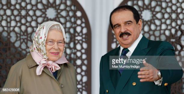 Queen Elizabeth II and King Hamad bin Isa Al Khalifa of Bahrain attend the Endurance event on day 3 of the Royal Windsor Horse Show in Windsor Great...