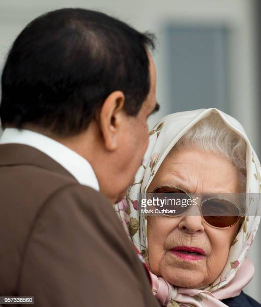 Queen Elizabeth II and King Hamad bin Isa Al Khalifa of Bahrain attend the Royal Windsor Endurance event at the Royal Windsor Horse Show at Home Park...
