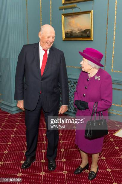 Queen Elizabeth II and King Harald V of Norway attend the AngloNorse Society centenary reception at The Naval Military Club on November 15 2018 in...