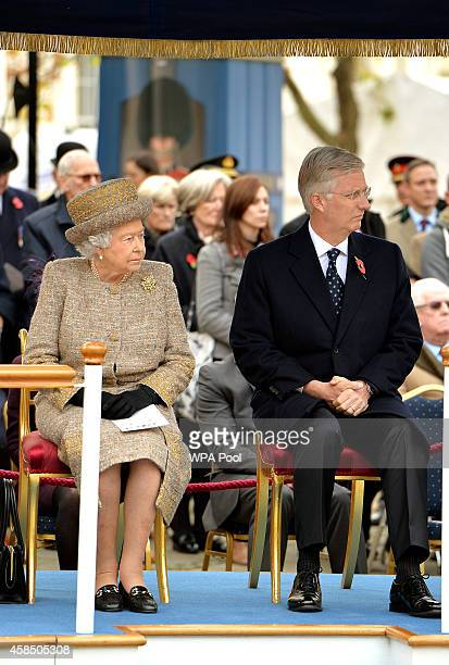 Queen Elizabeth II and King Philippe of Belgium attend the opening of the Flanders' Fields Memorial Garden on November 6 2014 in London England