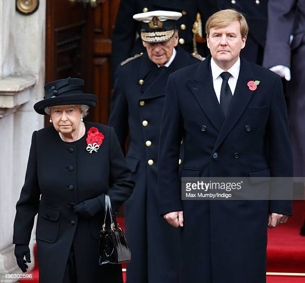 Queen Elizabeth II and King WillemAlexander of the Netherlands attend the annual Remembrance Sunday Service at the Cenotaph on Whitehall on November...