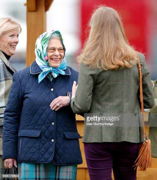 Queen Elizabeth II and Lady Louise Windsor attend day 4 of the Royal Windsor Horse Show in Home Park on May 12, 2018 in Windsor, England. This year...