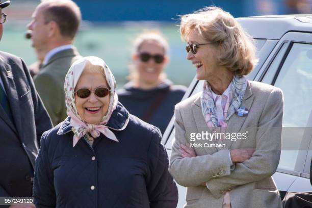 Queen Elizabeth II and Lady Penny Romsey attend the Royal Windsor Horse Show at Home Park on May 11 2018 in Windsor England