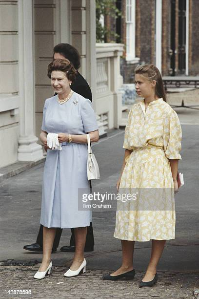 Queen Elizabeth II and Lady Sarah ArmstrongJones outside Clarence House in London for the Queen Mother's 83rd birthday 4th August 1983