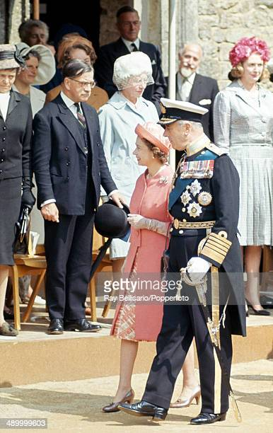 Queen Elizabeth II and Lord Mountbatten 1st Earl of Burma at Carisbrooke Castle on the Isle of Wight as he is installed as Governor on 26th July 1965