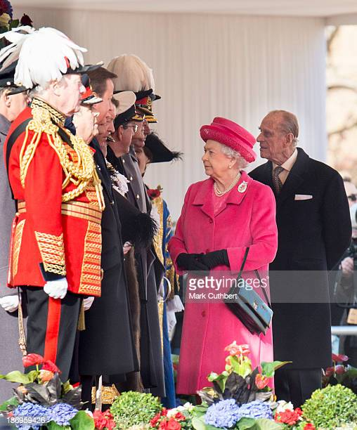 Queen Elizabeth II and Lord Vestey at the formal welcome for The President of the Republic of Korea, Her Excellency Park Geun-hye at a Ceremonial...