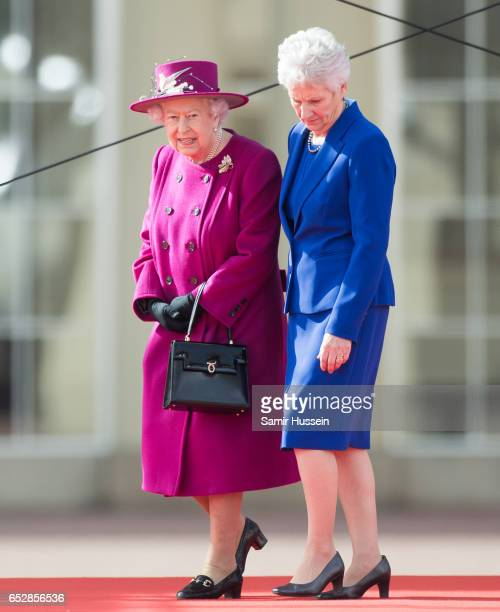 Queen Elizabeth II and Louise Martin President of the Commonwealth Games Federation attend the launch of The Queen's Baton Relay for the XXI...