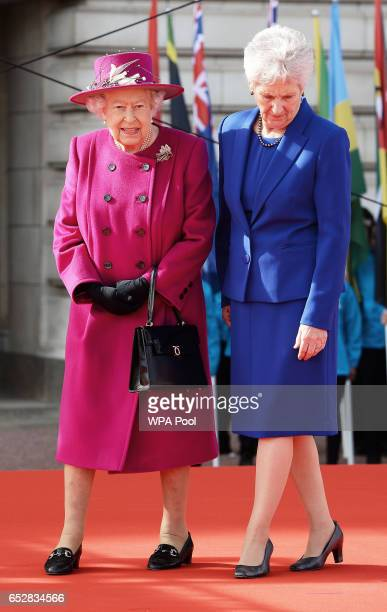 Queen Elizabeth II and Louise Martin the President of the Commonwealth Games Federation during the launch of The Queen's Baton Relay for the XXI...