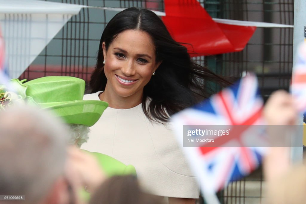 Queen Elizabeth II and Meghan, Duchess of Sussex arrive at Runcorn Train Station on June 14, 2018 in Chester, England. Meghan Markle married Prince Harry last month to become The Duchess of Sussex and this is her first engagement with the Queen. During the visit the pair will open a road bridge in Widnes and visit The Storyhouse and Town Hall in Chester.