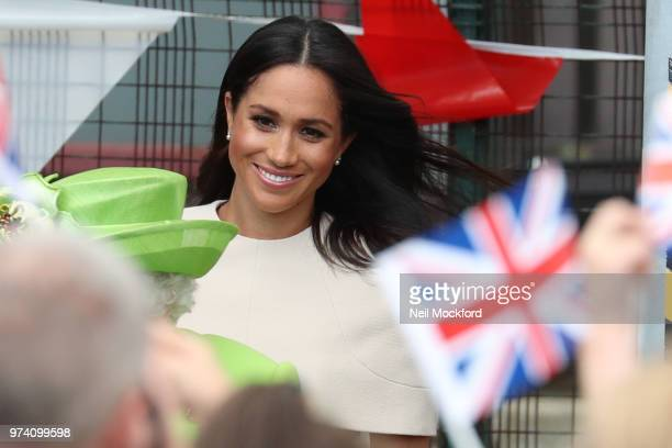 Queen Elizabeth II and Meghan Duchess of Sussex arrive at Runcorn Train Station on June 14 2018 in Chester England Meghan Markle married Prince Harry...