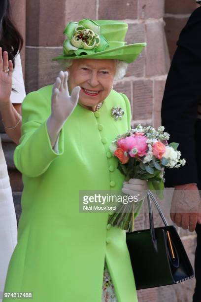 Queen Elizabeth II and Meghan Duchess of Sussex leaving Chester Town Hall on June 14 2018 in Chester England Meghan Markle married Prince Harry last...