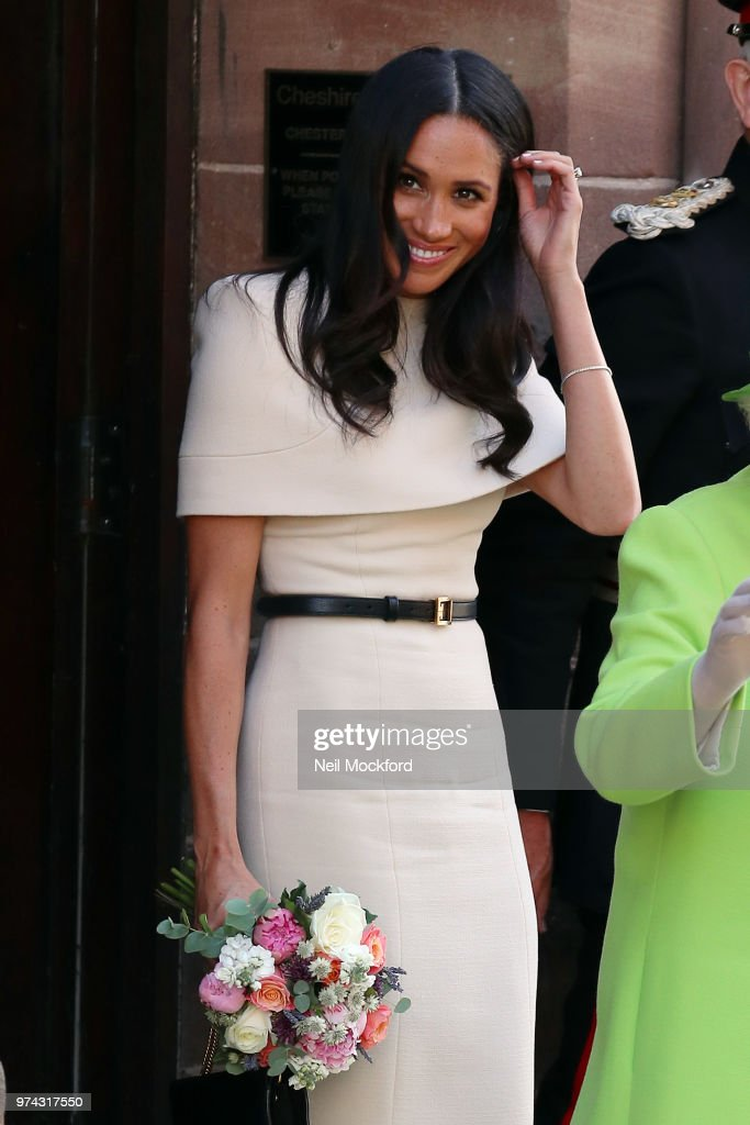 Queen Elizabeth II and Meghan, Duchess of Sussex leaving Chester Town Hall on June 14, 2018 in Chester, England. Meghan Markle married Prince Harry last month to become The Duchess of Sussex and this is her first engagement with the Queen. During the visit the pair will open a road bridge in Widnes and visit The Storyhouse and Town Hall in Chester.