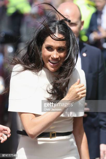 Queen Elizabeth II and Meghan Duchess of Sussex visit Chester Town Hall on June 14 2018 in Chester England Meghan Markle married Prince Harry last...