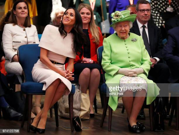 Queen Elizabeth II and Meghan Duchess of Sussex visits the Storyhouse on June 14 2018 in Chester England Meghan Markle married Prince Harry last...