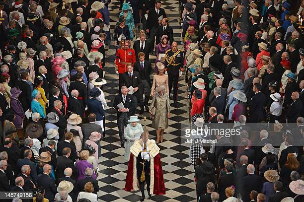 Queen Elizabeth II and members of the Royal Family depart St Paul's Cathedral following the service of thanksgiving on June 5 2012 in London England...