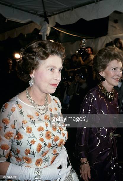 Queen Elizabeth II and Nancy Reagan arrive for a concert in Santa Barbara