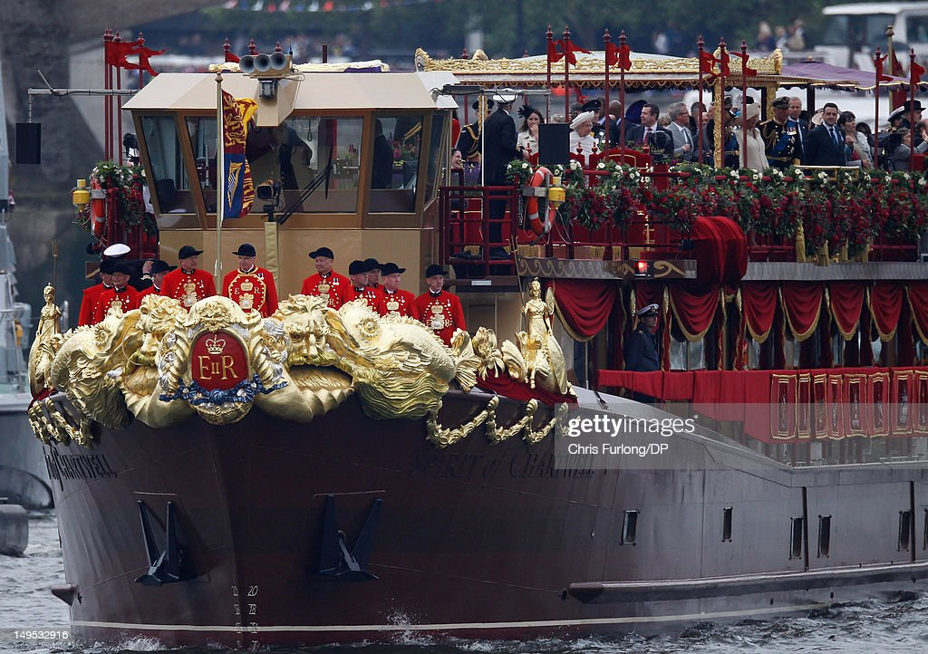 Queen Elizabeth II and other members of the Royal family sail on the royal barge 'The Spirit of Chartwell' during the Thames Diamond Jubilee River Pageant during the Thames Diamond Jubilee River Pageant on June 3, 2012 in London, England. For only the second time in its history the UK celebrates the Diamond Jubilee of a monarch. Her Majesty Queen Elizabeth II celebrates the 60th anniversary of her ascension to the throne. Thousands of well-wishers from around the world have flocked to London to witness the spectacle of the weekend's celebrations. The Queen along with all members of the royal family will participate in a River Pageant with a flotilla of a 1,000 boats accompanying them down The Thames.