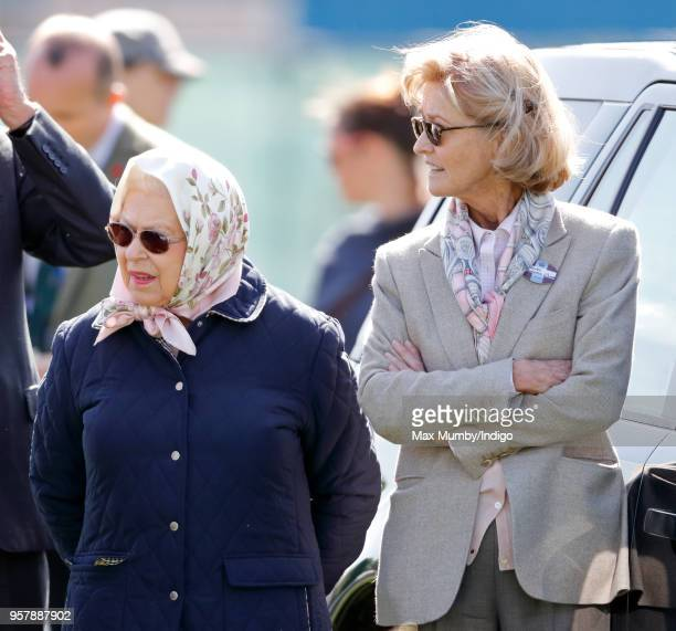 Queen Elizabeth II and Penny Knatchbull Countess Mountbatten of Burma attend day 3 of the Royal Windsor Horse Show in Home Park on May 11 2018 in...