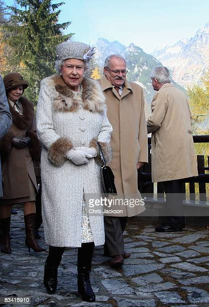 Queen Elizabeth II and President of Slovakia Ivan Gasparovic tour Hrebienok Ski Resort on the second day of a tour of Slovakia on October 24 2008 in...