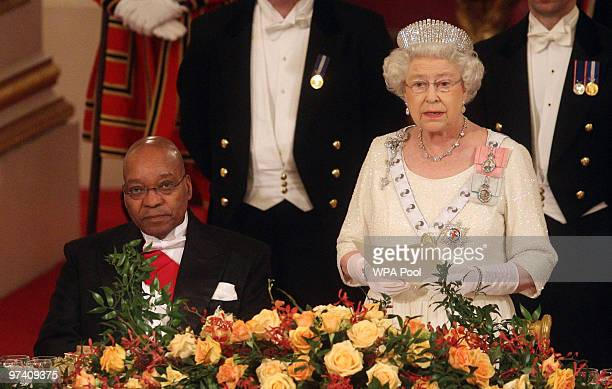 Queen Elizabeth II and President of South Africa Jacob Zuma attend a state banquet at Buckingham Palace on March 3, 2010 in London, England....