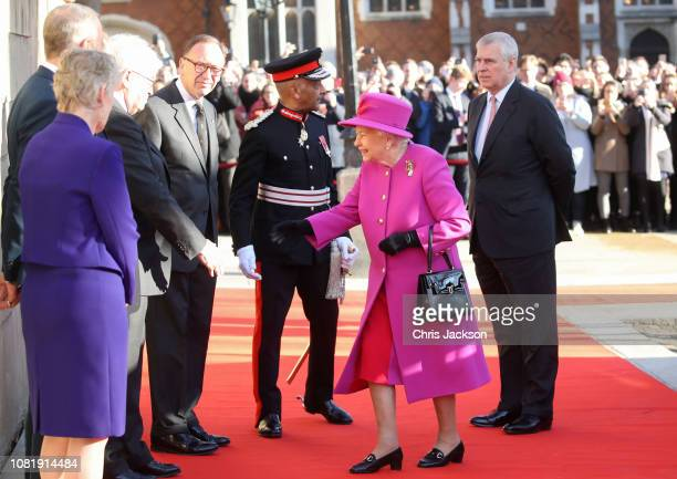 Queen Elizabeth II and Prince Andrew, Duke of York arrive at the Honourable Society of Lincoln's Inn on December 13, 2018 in London, United Kingdom.