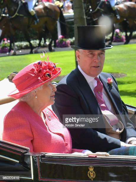 Queen Elizabeth II and Prince Andrew Duke of York arrive in the Royal procession on day 3 of Royal Ascot at Ascot Racecourse on June 21 2018 in Ascot...