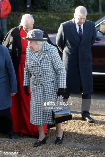 Queen Elizabeth II and Prince Andrew Duke of York attend church at Hillington in Sandringham on January 19 2020 in King's Lynn England