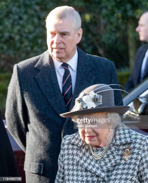 Queen Elizabeth II and Prince Andrew Duke of York attend church at St Mary the Virgin at Hillington in Sandringham on January 19 2020 in King's Lynn...